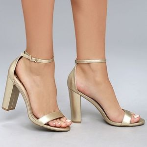 Lulus Taylor Gold Ankle Strap Heels Size 9